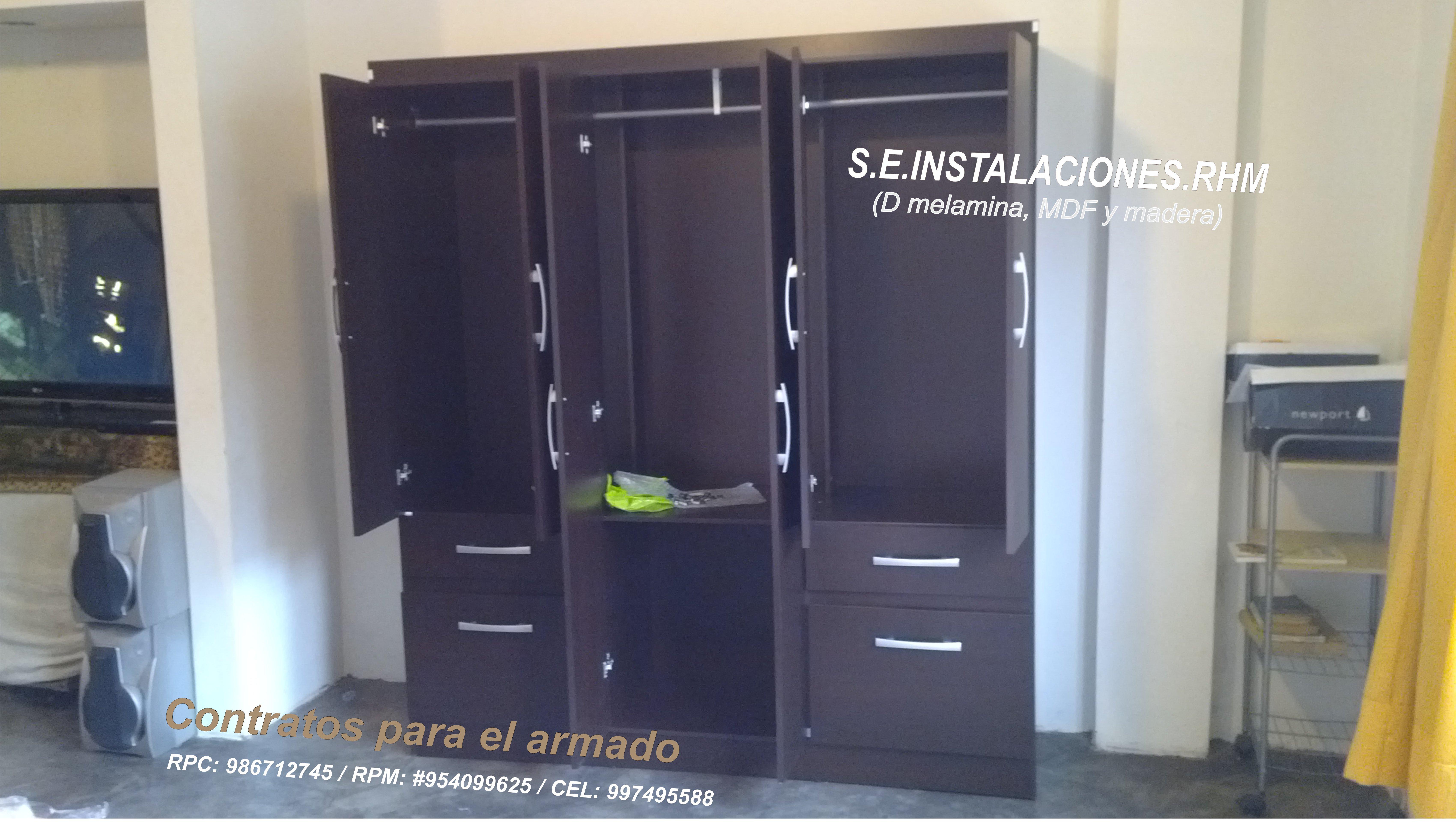 Armado y desarmado de roperos de melamina de saga tottus for Puertas de madera sodimac